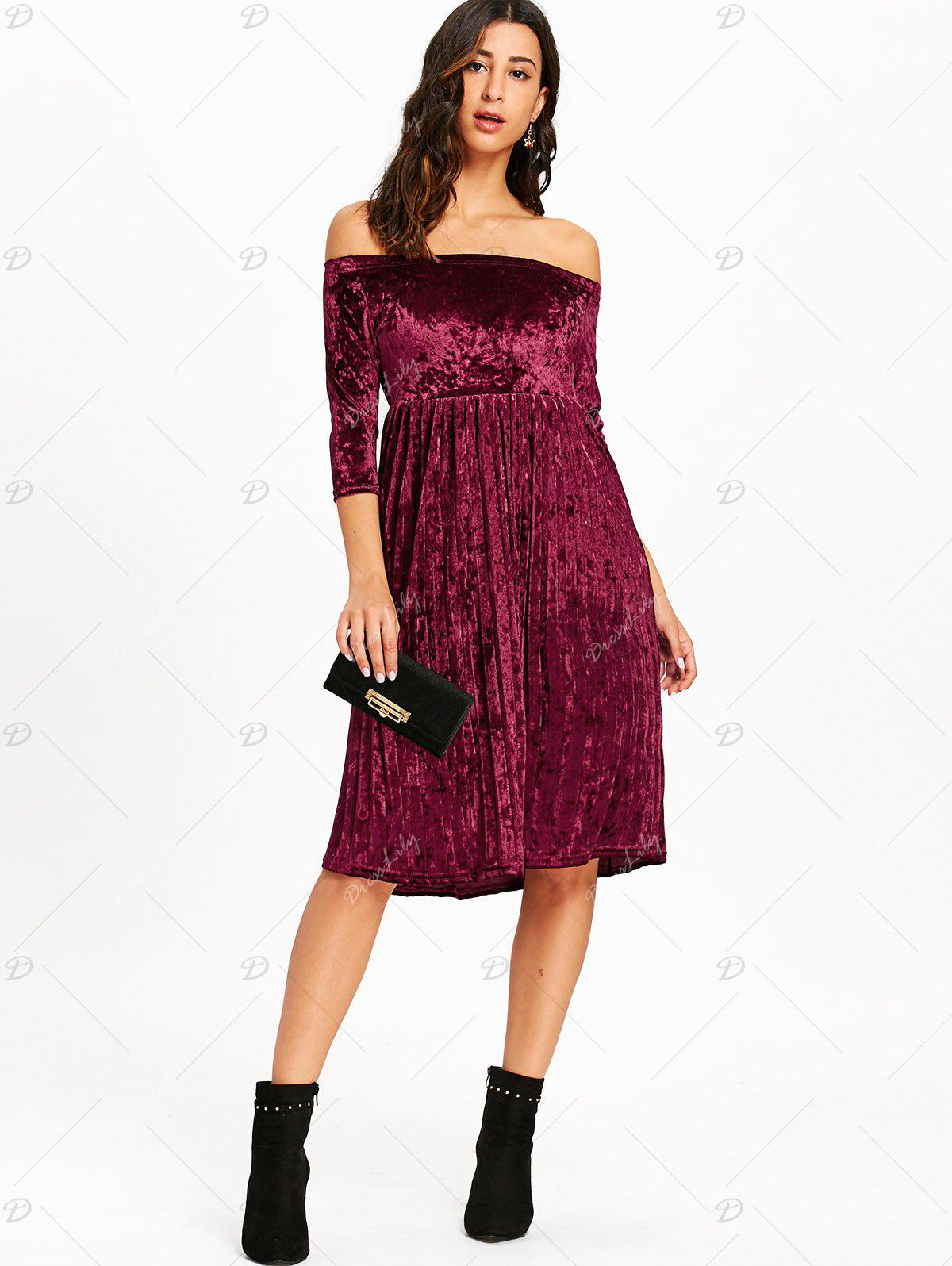 Off The Shoulder Velvet Pleated Dress - WINE RED XL