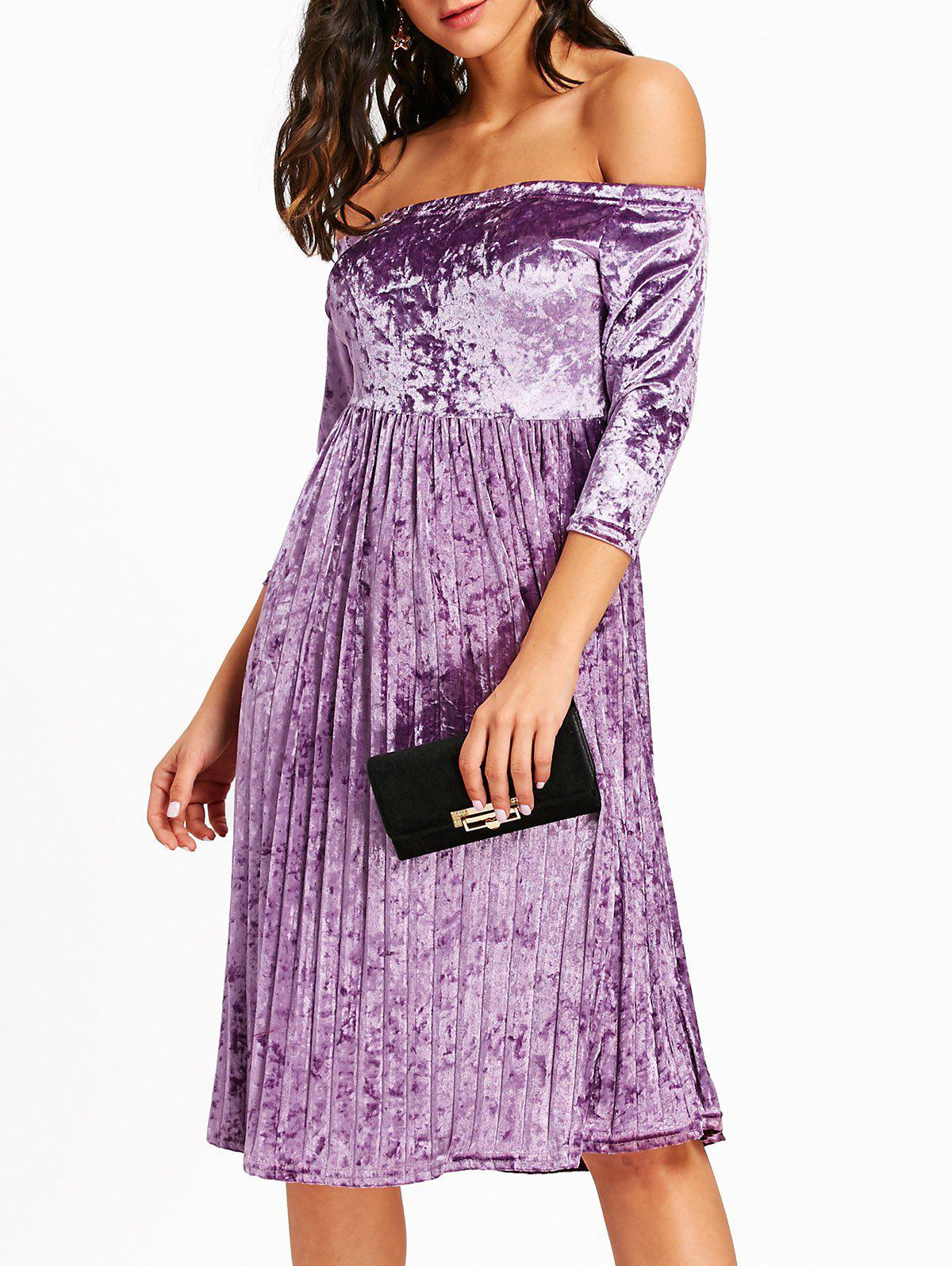 Off The Shoulder Velvet Pleated Dress - LIGHT PURPLE S