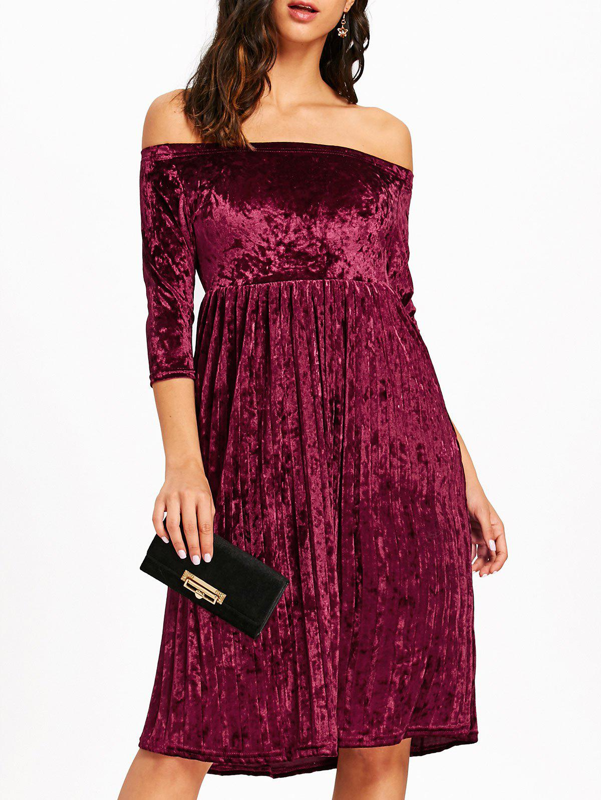 Off The Shoulder Velvet Pleated Dress - WINE RED S