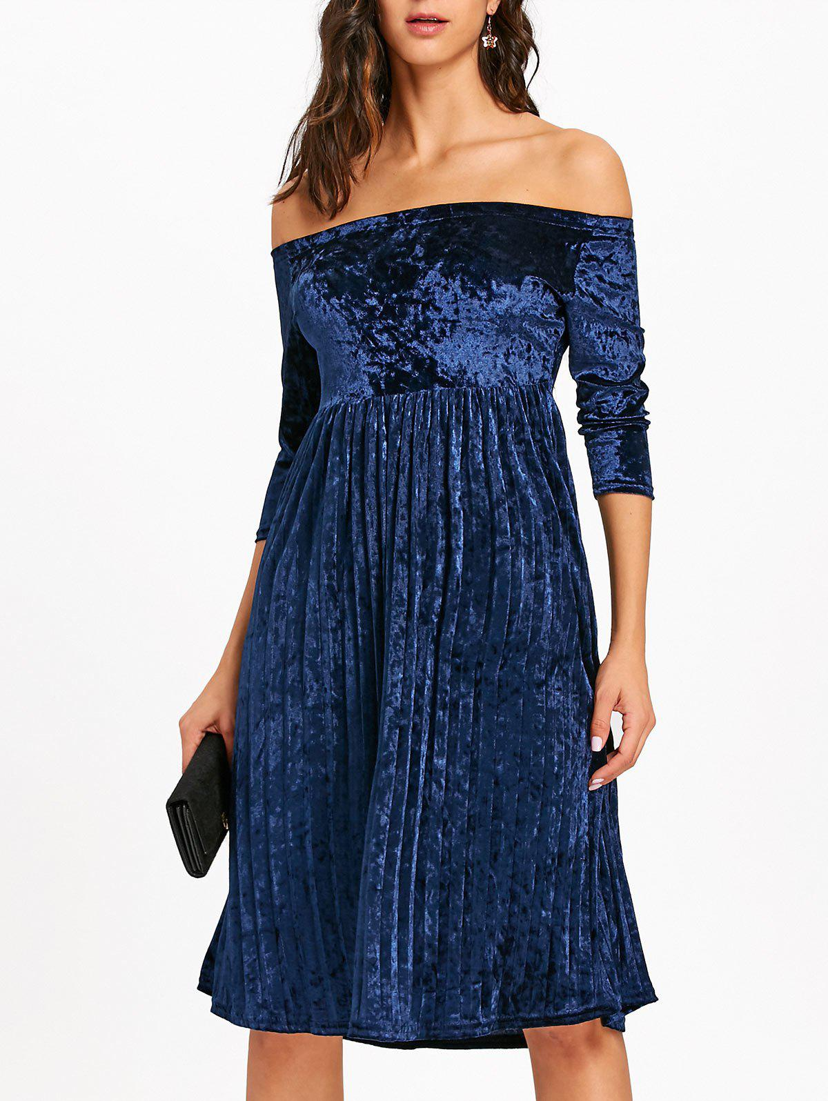 Off The Shoulder Velvet Pleated Dress - BLUE M