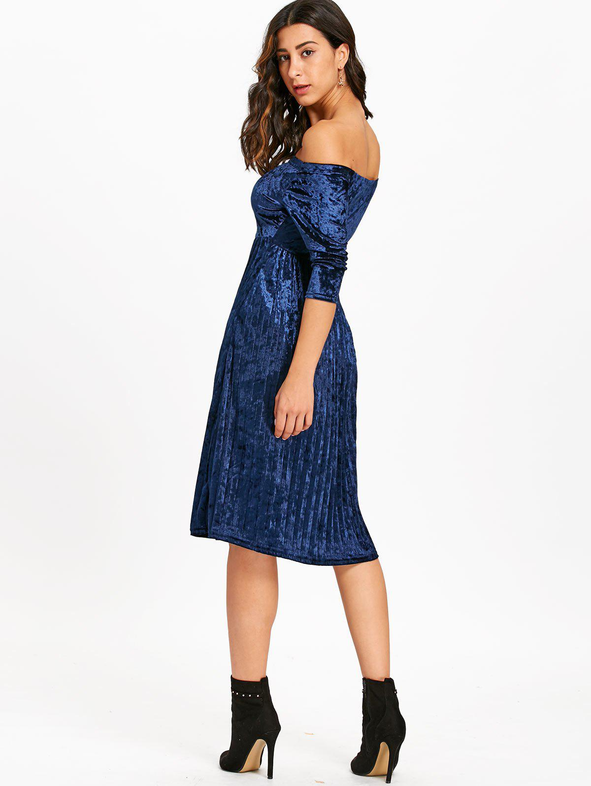 Off The Shoulder Velvet Pleated Dress - BLUE XL