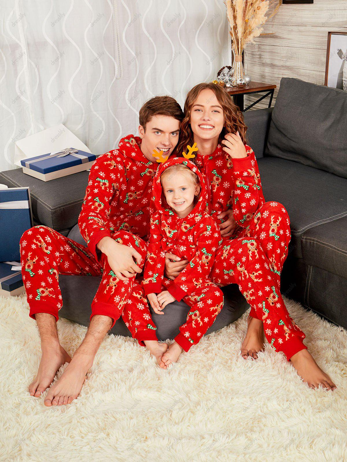Rudolph Onesie Christmas Matching Family Pajama - RED MOM M