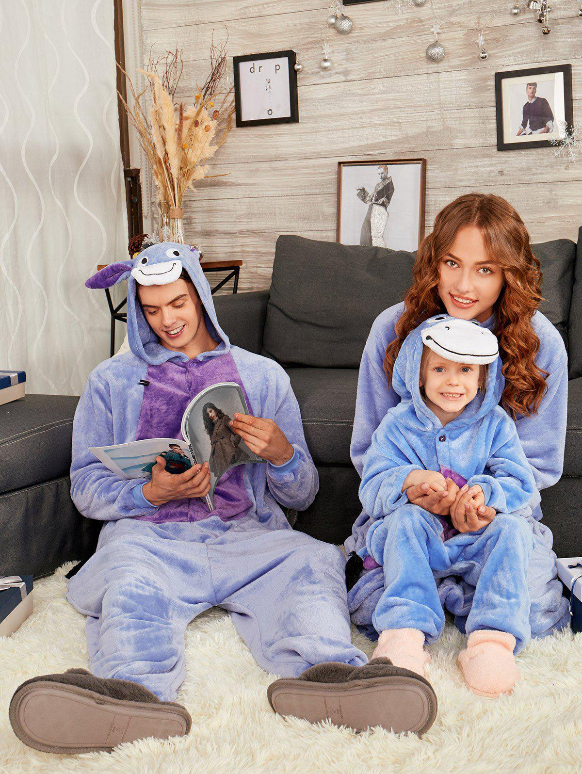 Donkey Animal Onesie Matching Family Christmas Pajama Set - BLUISH VIOLET KID 130