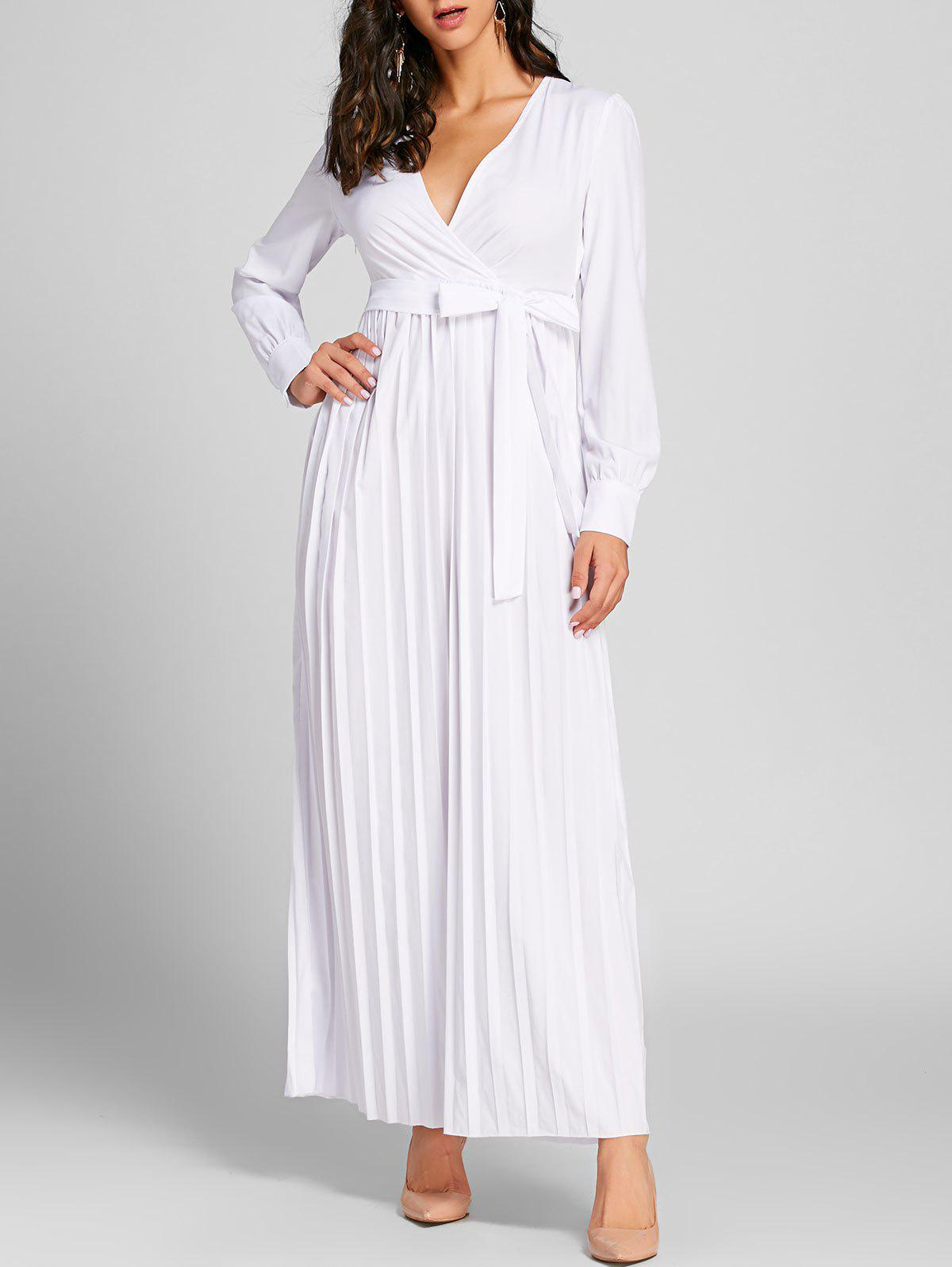Surplice Neck plissée Warp Maxi Dress - Blanc L