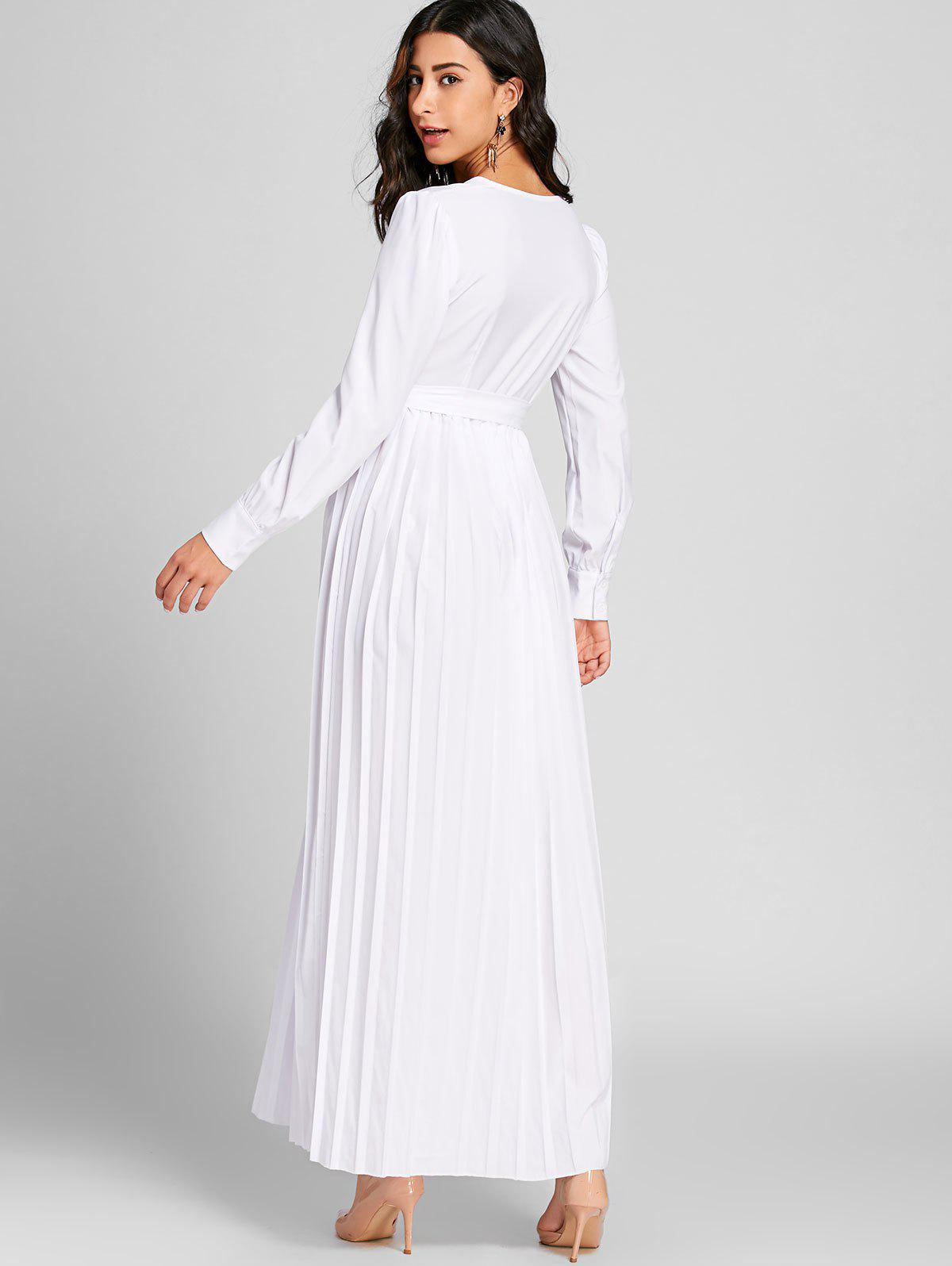 Surplice Neck Pleated Warp Maxi Dress - WHITE 2XL