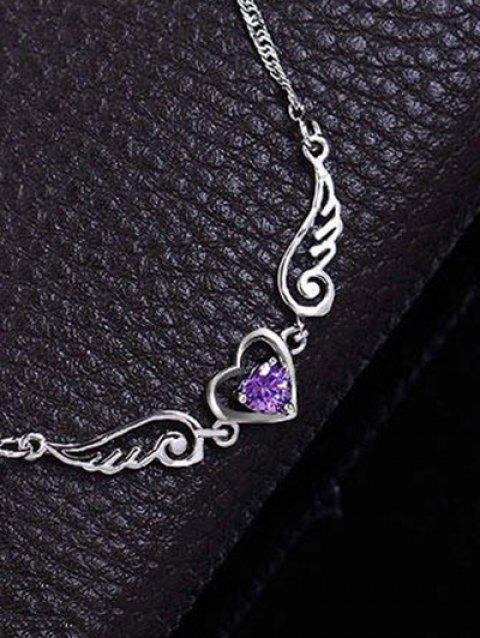 Faux Amethyst Heart Angel Wings Collarbone Necklace - PURPLE