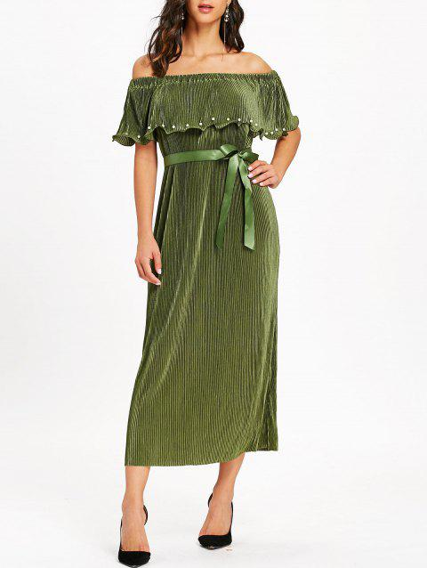 Pleated Off The Shoulder Maxi Dress - ARMY GREEN XL