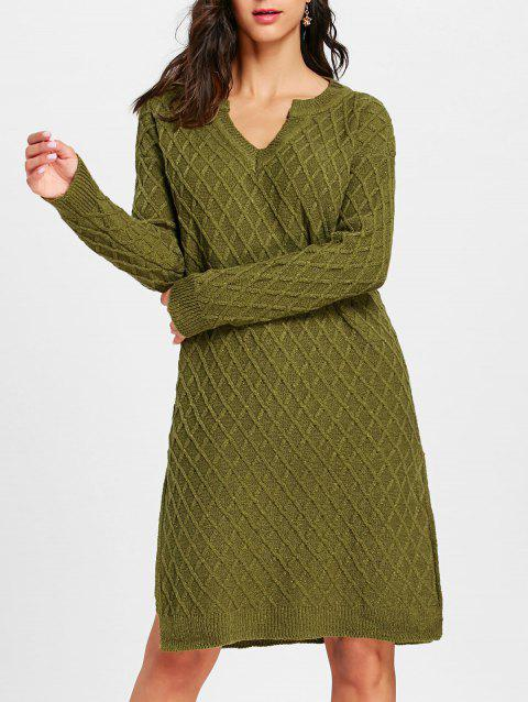 High Slit V Neck Argyle Sweater Dress - ARMY GREEN ONE SIZE