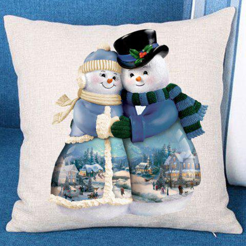 Two Hugged Snowmen Printed Throw Pillow Case - WHITE/BLUE W18 INCH * L18 INCH