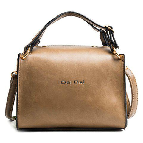 Letter Print Faux Leather Handbag With Strap - COFFEE