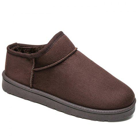 Slip On Warm Ankle Snow Boots - DEEP BROWN 42