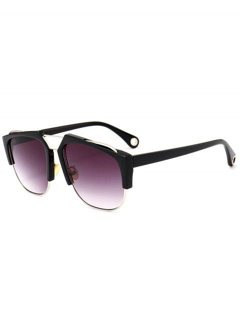UV Protection Crossbar Embellished Half Frame Sunglasses - BLACK FRAME/GREY LENS