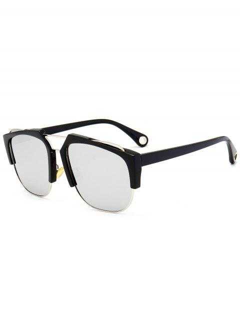 UV Protection Crossbar Embellished Half Frame Sunglasses - BLACK/MERCURY