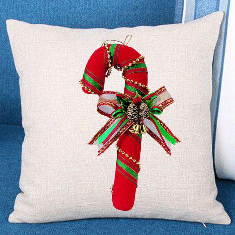 Christmas Candy Cane Printed Linen Throw Pillow Case - RED W18 INCH * L18 INCH