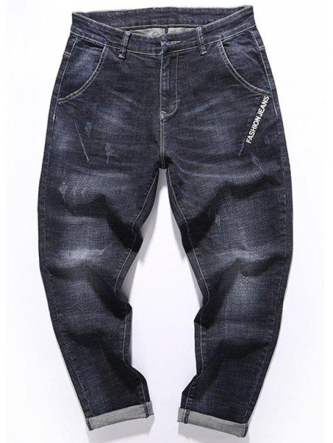 Graphic Print Zip Fly Tapered Fit Jeans - BLACK 32