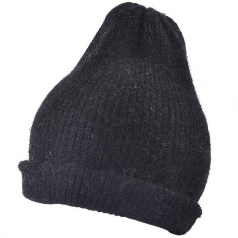 Outdoor Flanging Decorated Crochet Knitted Slouchy Beanie - BLACK