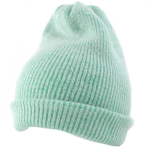 Outdoor Flanging Decorated Crochet Knitted Slouchy Beanie - LIGHT GREEN
