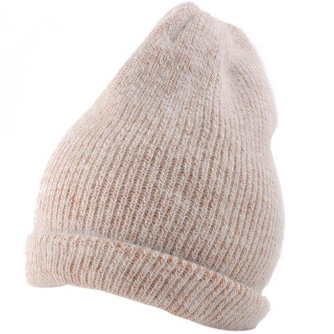 Outdoor Flanging Decorated Crochet Knitted Slouchy Beanie - KHAKI