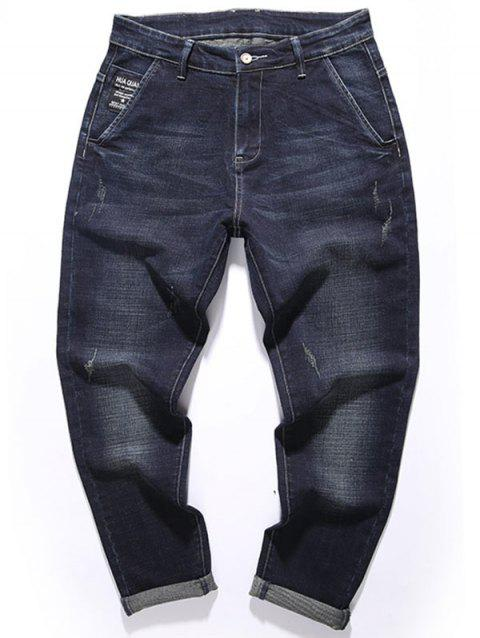 Zipper Fly Graphic Tapered Fit Jeans - DEEP BLUE 42
