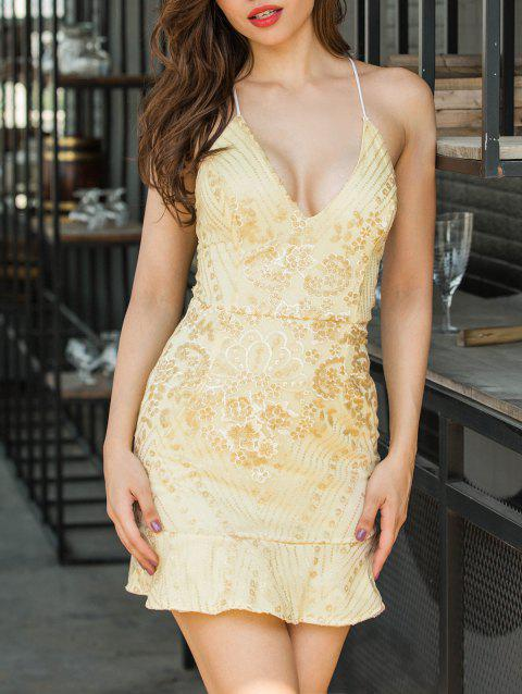 Embroidered Sequin Backless Cami Dress - GOLDEN XL