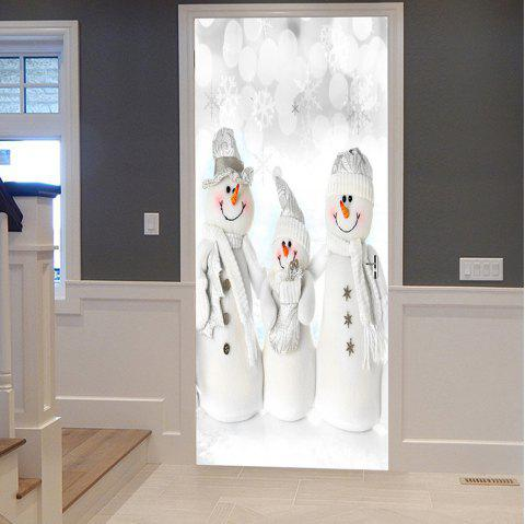 Christmas Snowmen Family Pattern Door Stickers - WHITE 38.5*200CM*2PCS