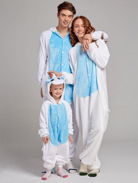 Fleece Unicorn Animal Family Onesie Pajamas - BLUE KID 100