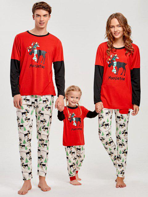 Elk Printed Long Sleeve Matching Family Christmas Pajama - RED MOM XL
