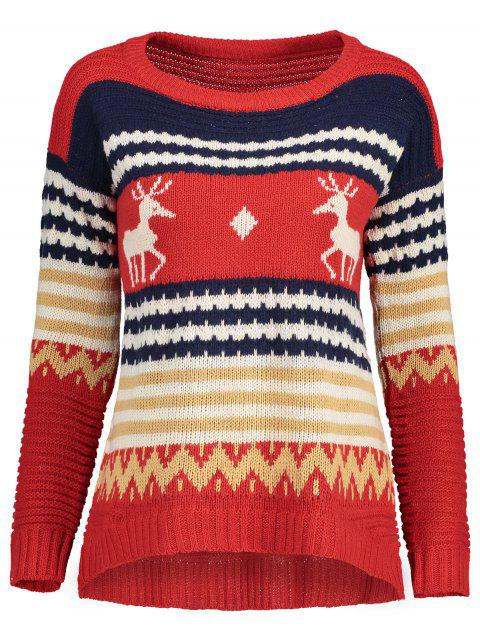 Reindeer Knit Sweater - RED ONE SIZE