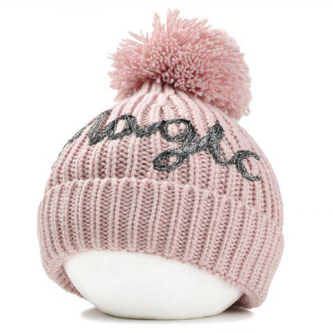Outdoor Fuzzy Ball Embellished Flanging Knitted Beanie - PINK