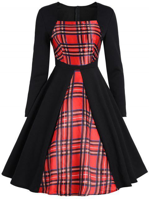 a63d08a3a1b 41% OFF  2019 Plaid Panel Long Sleeve Vintage Dress In RED 2XL ...
