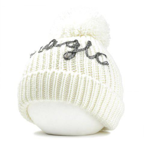Outdoor Fuzzy Ball Embellished Flanging Knitted Beanie - WHITE