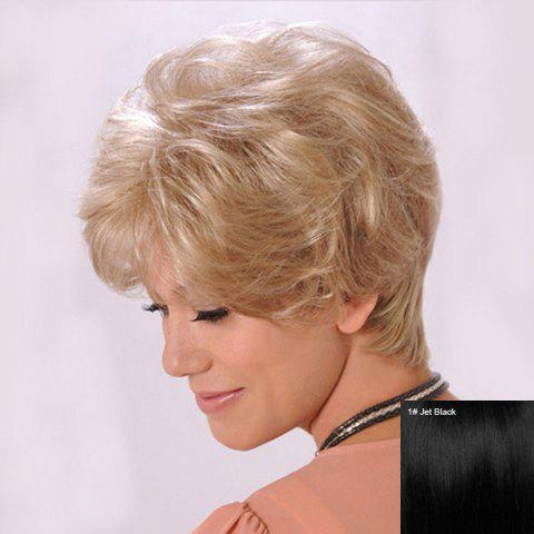 Short Inclined Bang Shaggy Slightly Curled Human Hair Wig - JET BLACK 01