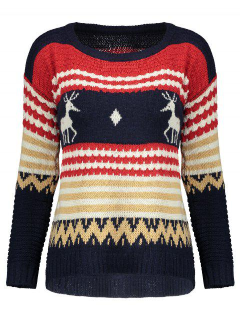 Reindeer Knit Sweater - BLUE ONE SIZE