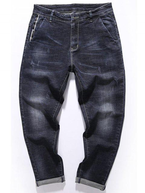 Zipper Fly Tapered Fit Pockets Jeans - DEEP BLUE 32