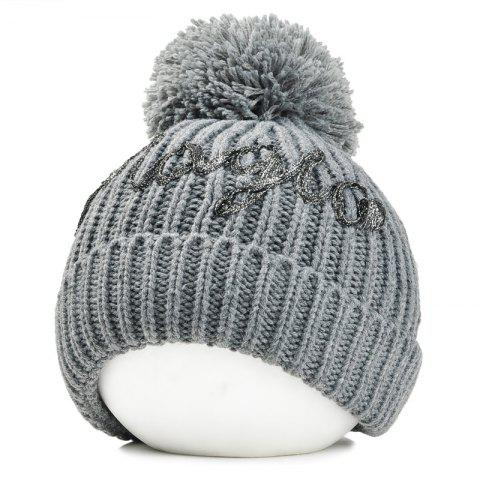 Outdoor Fuzzy Ball Embellished Flanging Knitted Beanie - GRAY