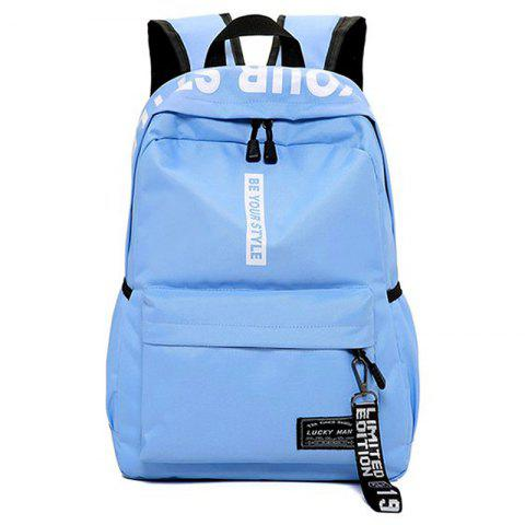 Letter Print Multi Function Backpack With Handle - BLUE