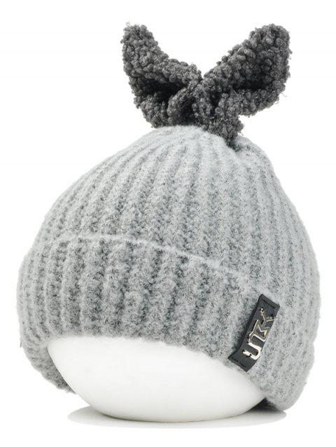 Cute Rabbie Ear Letter Label Decorated Knitted Beanie - LIGHT GRAY