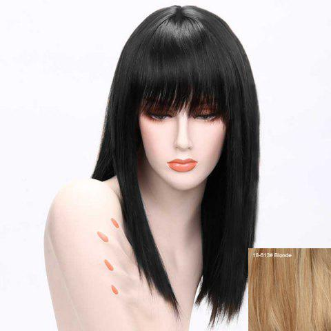 Long Human Hair Full Bang Straight Wig - BLONDE