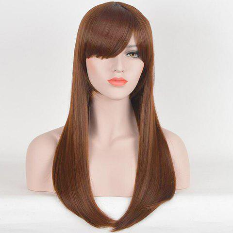 Long Inclined Fringe Straight Human Hair Wig - AUBURN BROWN 30