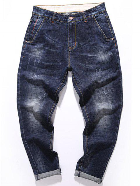 Zipper Fly Whisker Design Tapered Fit Jeans - DEEP BLUE 32