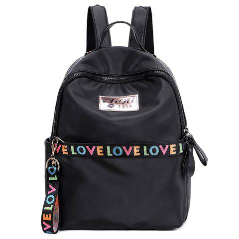 Print Letter Backpack With Handle - BLACK