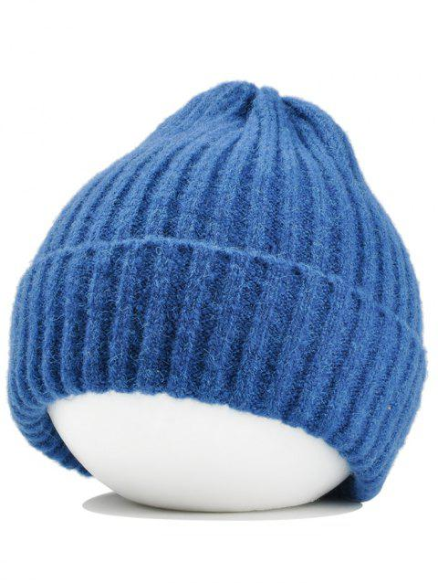Flanging Embellished Crochet Knitted Lightweight Beanie - LAKE BLUE