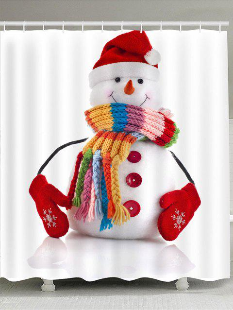 Red Hat Snowman Pattern Waterproof Shower Curtain - COLORFUL W71 INCH * L71 INCH