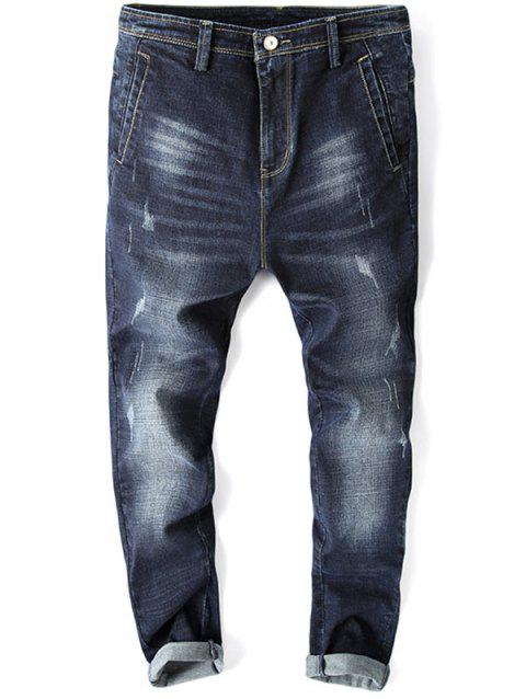 Casual Zip Fly Whisker Design Tapered Jeans - DEEP BLUE M