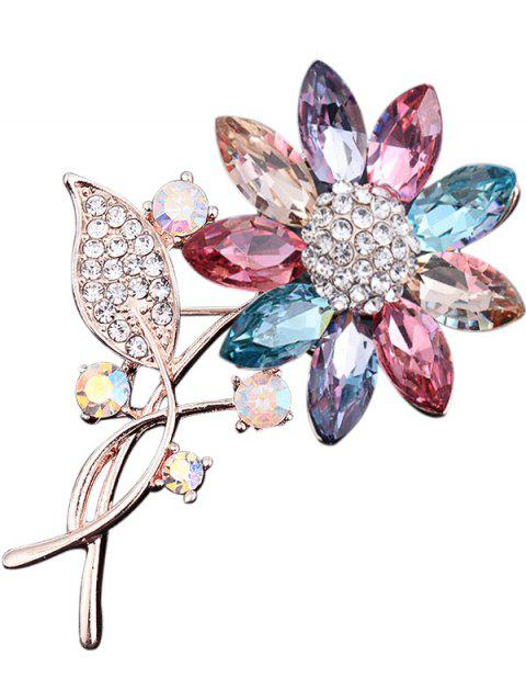 Faux Crystal Rhinestone Sunflower Leaf Brooch - COLORMIX