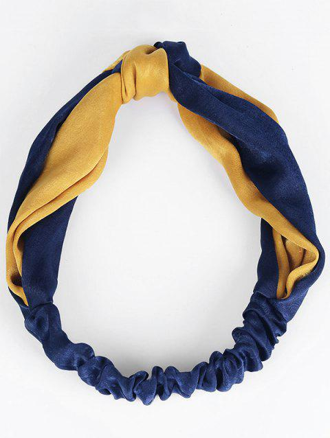 Two Tone Knot Elastic Hair Band - BLUE/ORANGE