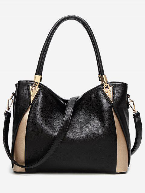 Color Blocking PU Leather Shoulder Bag - BLACK