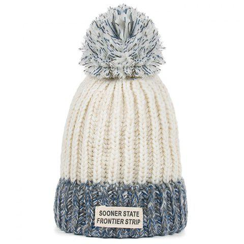 Outdoor Colormix Letter Label Decorated Flanging Knitted Beanie - WHITE