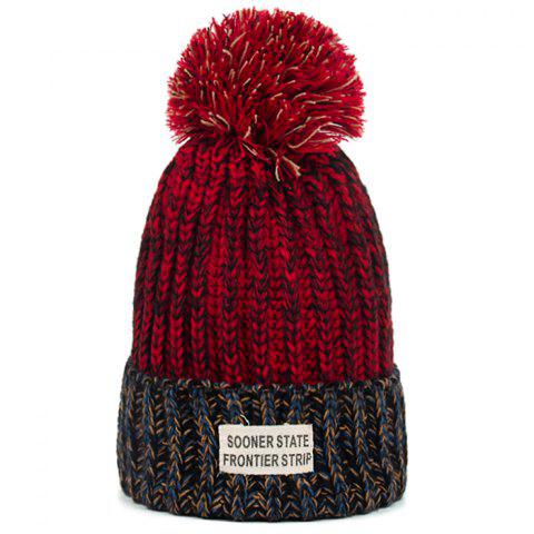 Outdoor Colormix Letter Label Decorated Flanging Knitted Beanie - WINE RED