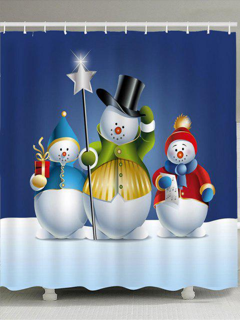 Three Snowmen Pattern Waterproof Shower Curtain - COLORFUL W71 INCH * L71 INCH
